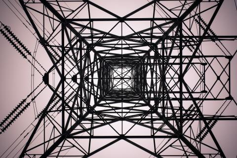 Looking up through a tower
